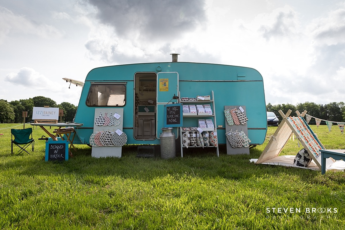 Norfolk photographer steven brooks photographs Britain Does Vintage at Stody Lodge Izzi Rainey caravan