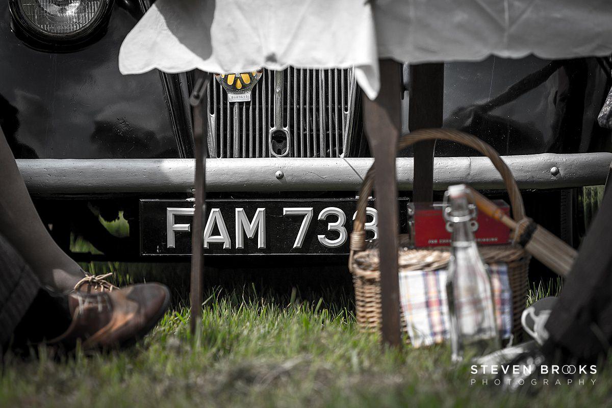 Norfolk photographer steven brooks photographs Britain Does Vintage at Stody Lodge vintage number plate on car