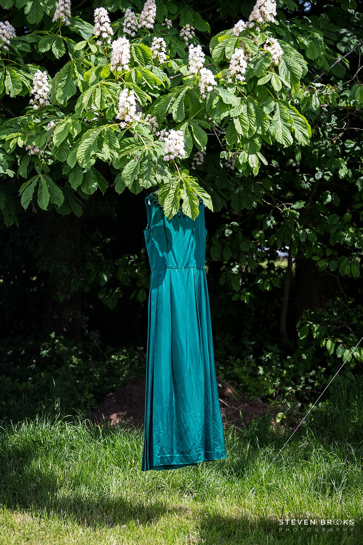 Norfolk photographer steven brooks photographs Britain Does Vintage at Stody Lodge vintage dress hanging in a tree