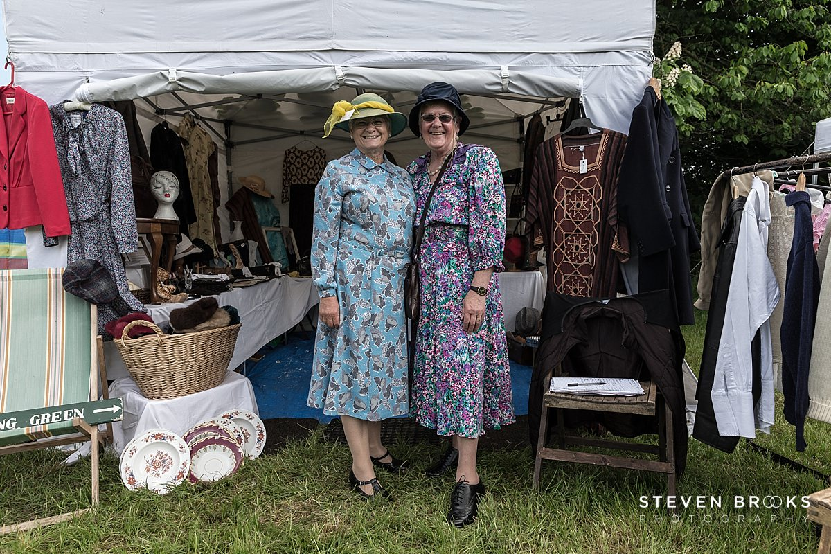 Norfolk photographer steven brooks photographs Britain Does Vintage at Stody Lodge two women in vintage clothes