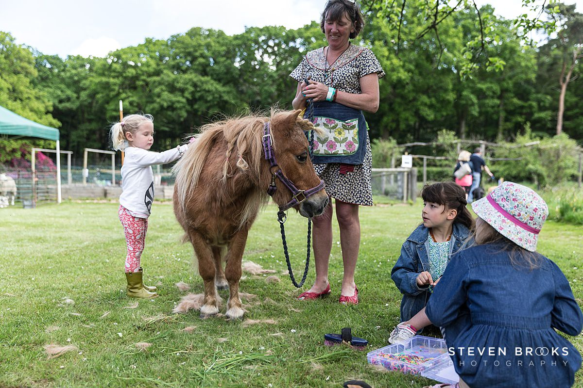 Norfolk photographer steven brooks photographs a little girl brushing a pony at Britain Does Vintage at Stody Lodge