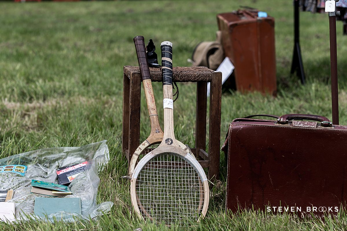 Norfolk photographer steven brooks photographs two old tennis rackets at Britain Does Vintage at Stody Lodge
