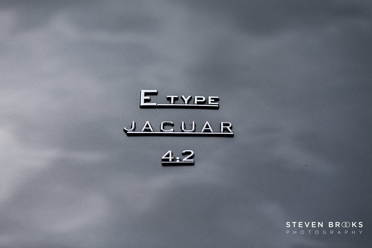 Norfolk photographer steven brooks photographs a close up of a e-type jaguar badge at Britain Does Vintage at Stody Lodge