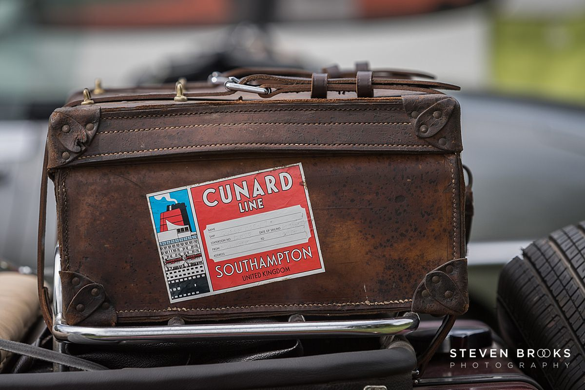Norfolk photographer steven brooks photographs an old leather luggage suit case at Britain Does Vintage in Norfolk