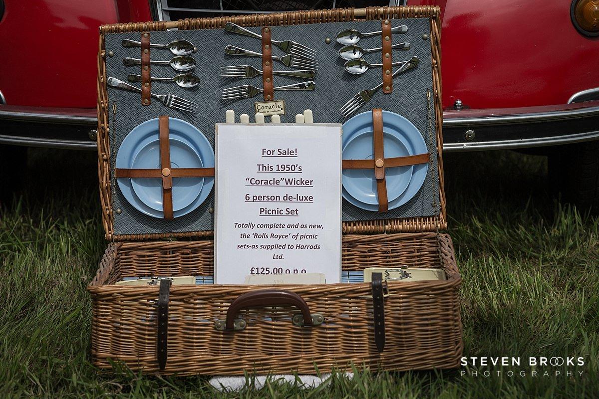 Norfolk photographer steven brooks photographs a vintage picnic hamper at Britain Does Vintage in Norfolk