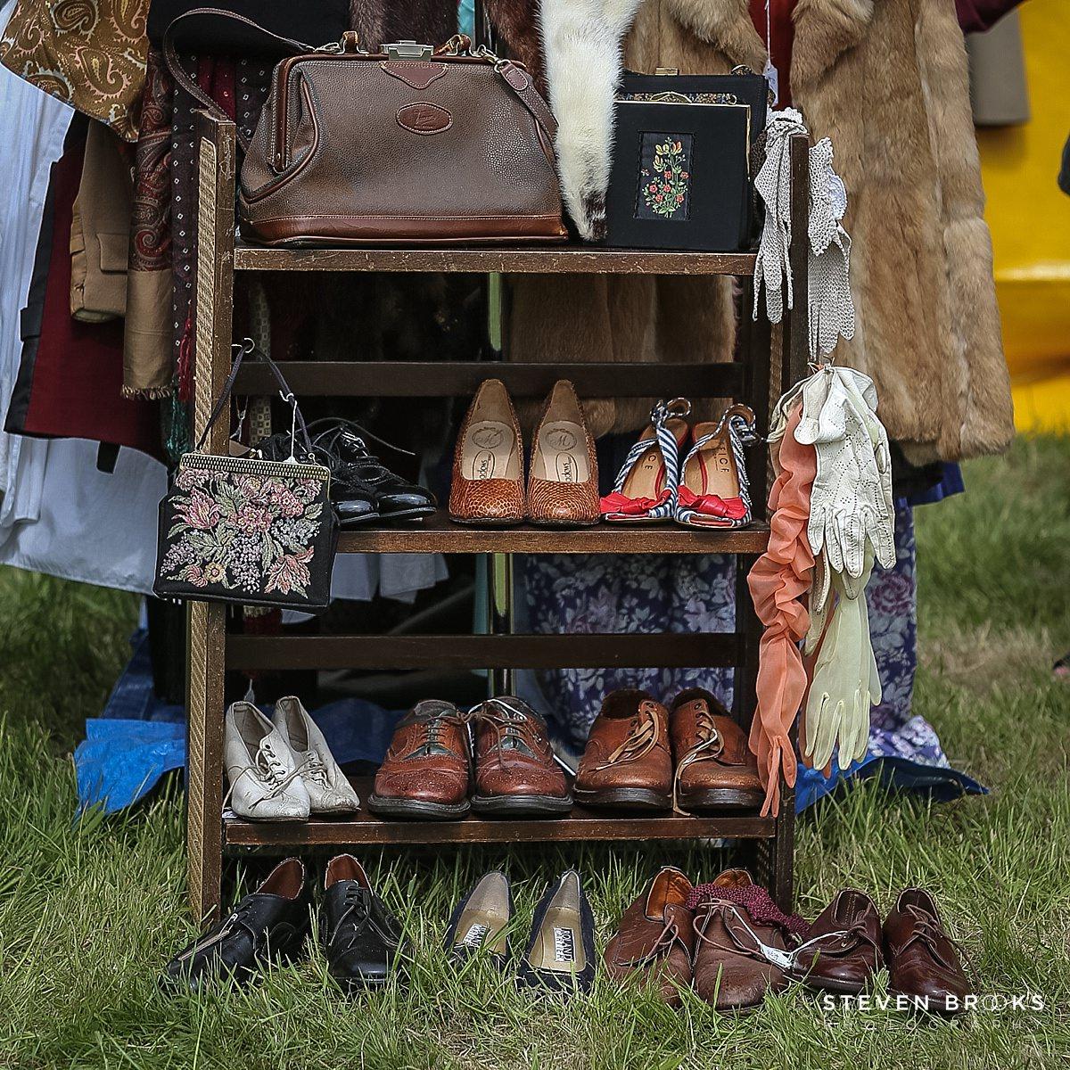 Norfolk photographer steven brooks photographs a rack of vintage shoes at Britain Does Vintage in Norfolk