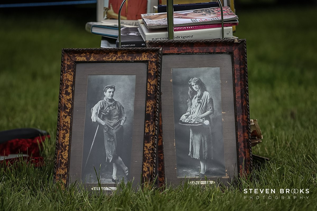 Norfolk photographer steven brooks photographs a couple of old framed photographs at Britain Does Vintage in Norfolk