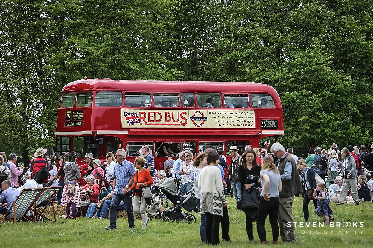 Norfolk photographer steven brooks photographs a red bus converted to a cafe at Britain Does Vintage in Norfolk