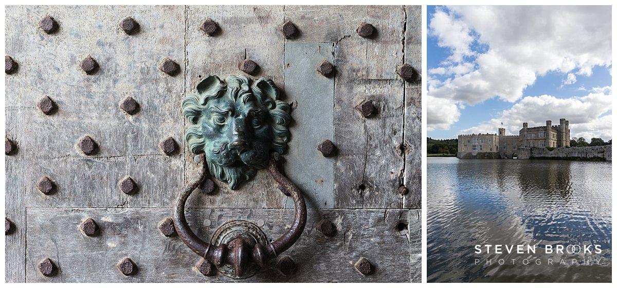 Leeds Castle wedding photographer steven bnrooks photographs leeds castle entrance and the moat