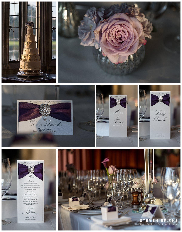 Leeds Castle wedding photographer steven brooks photographs the wedding breakfast table details and cake at Leeds Castle