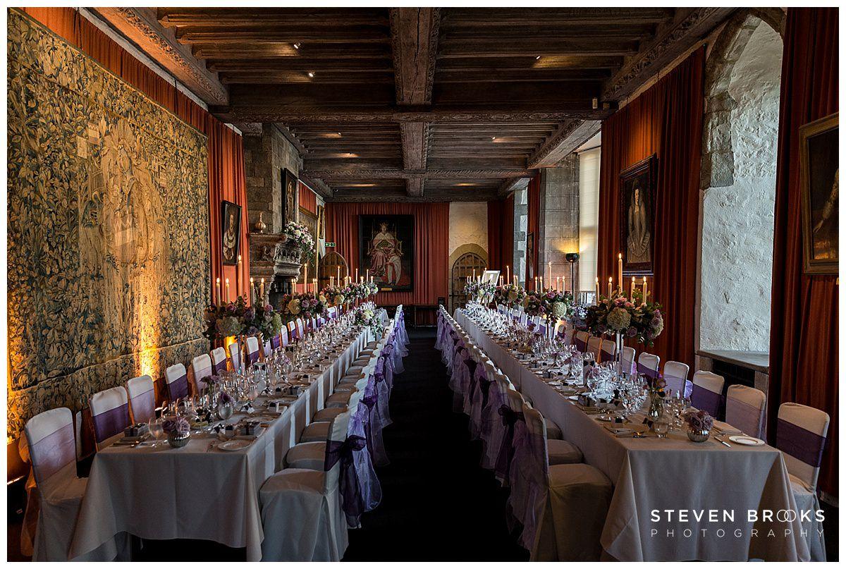 Leeds Castle wedding photographer steven brooks photographs the wedding breakfast room at Leeds Castle