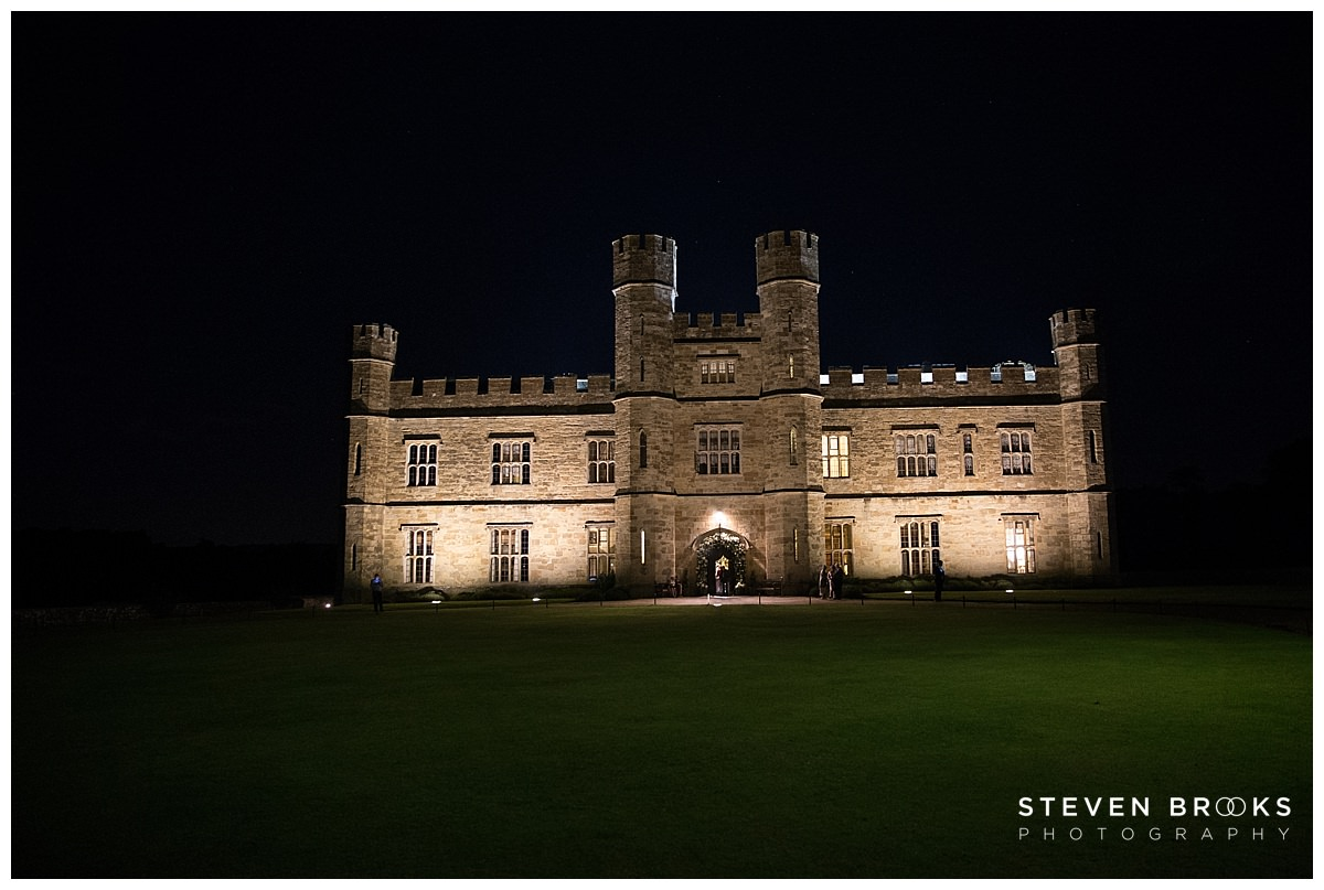 Leeds Castle wedding photographer steven brooks photographs Leeds Castle at night