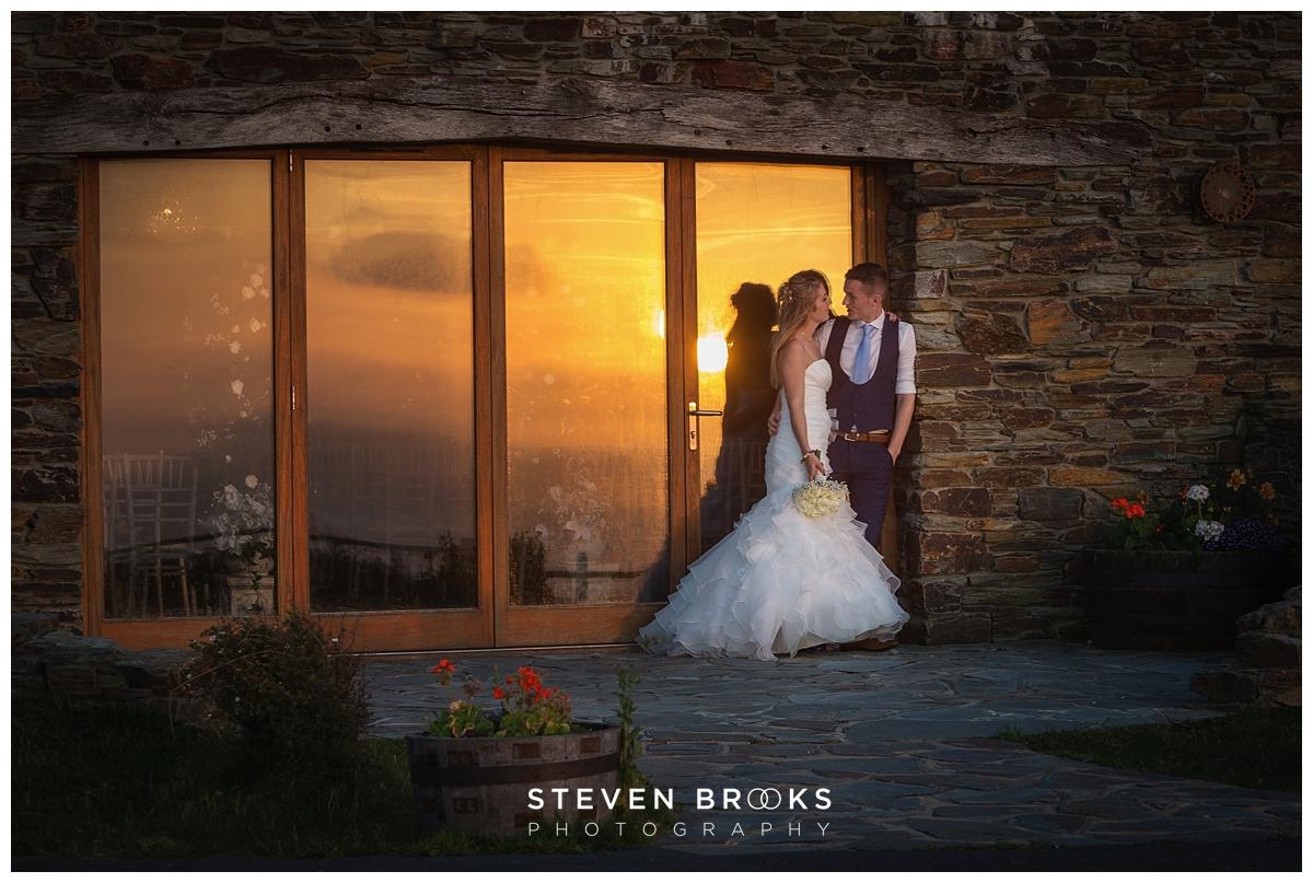 Ocean Kave Westward Ho wedding venue at sunset photographed by wedding photographer steven brooks