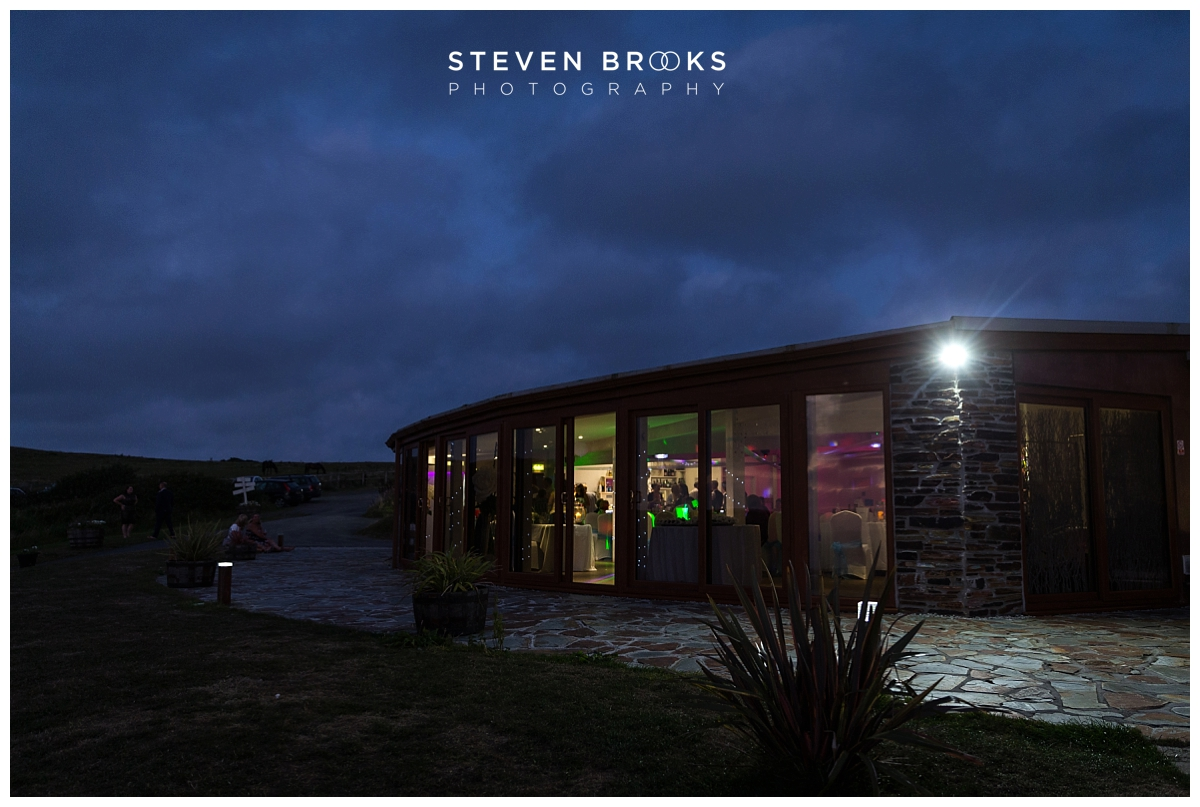 Ocean Kave westward ho wedding venue the sunset room at night photographed by steven brooks wedding photographer