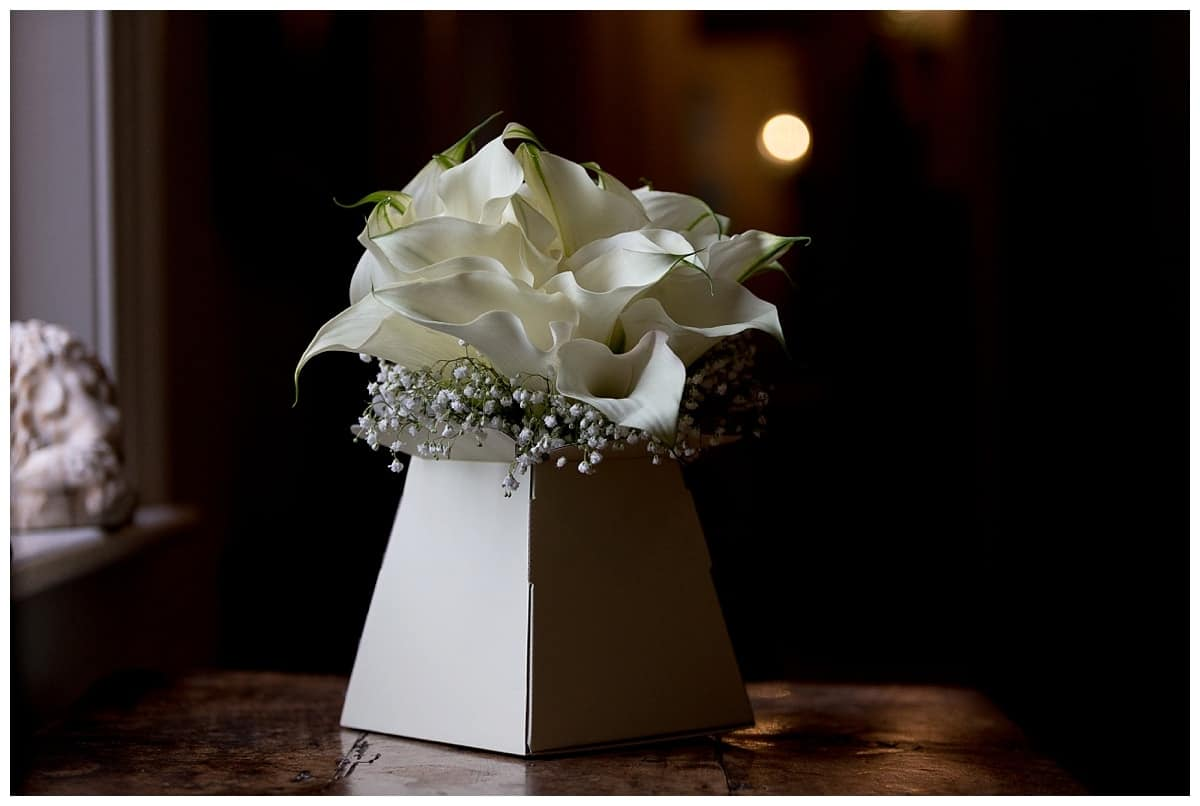 bridal bouquet at chippenham park bridal room
